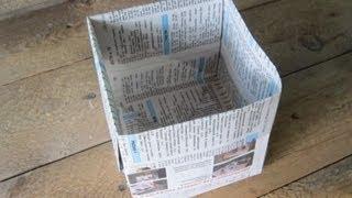 Как сделать мусорное ведро из бумаги своими руками / Поделки из бумаги Sekretmastera(Вторая жизнь старой газеты через самодельное мусорное ведро. Мусорное ведро складывается в оригами стиле..., 2013-09-04T14:58:51.000Z)