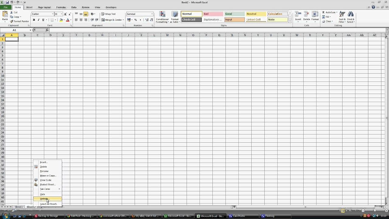 worksheet Unhide Worksheet In Excel 2010 unhide sheet in excel 2010 youtube 2010