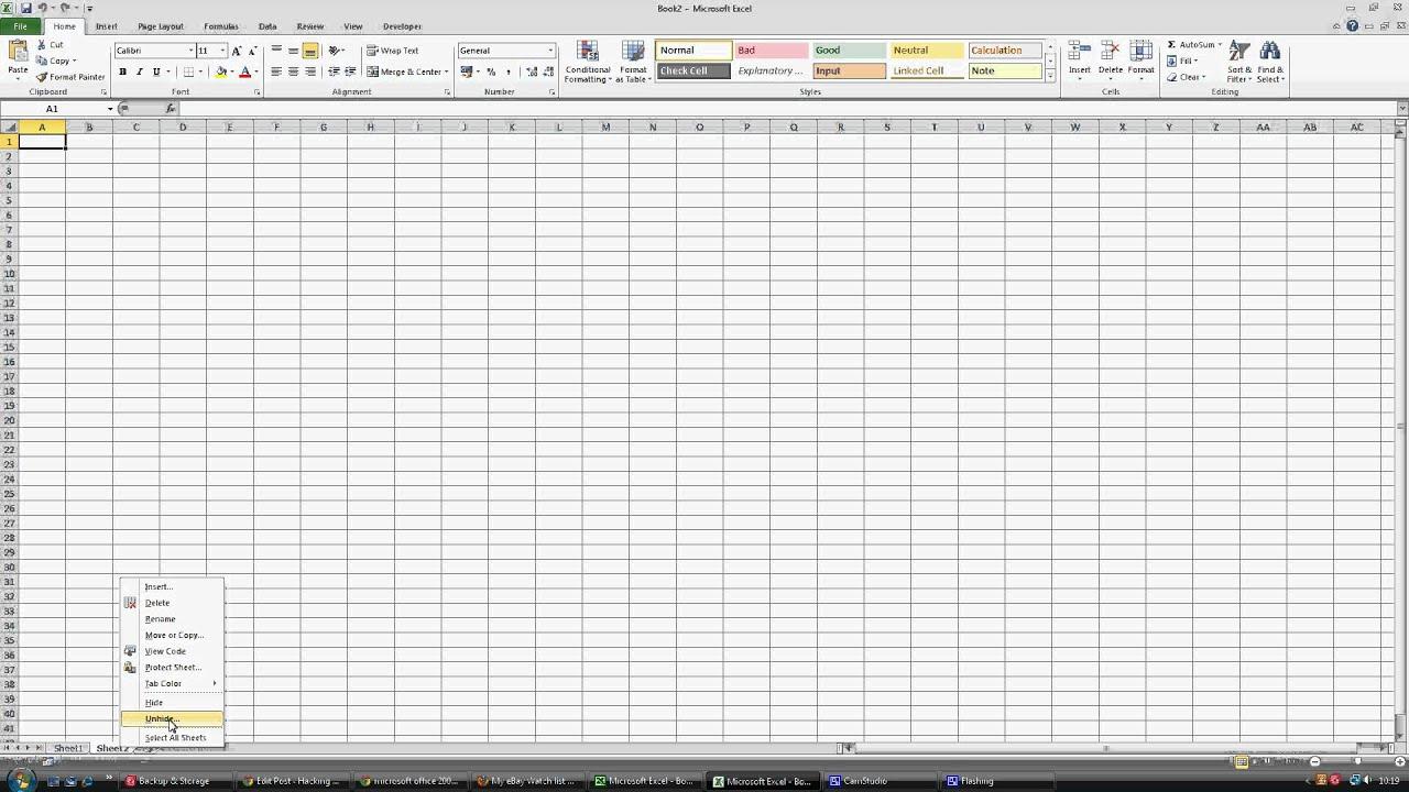 Unhide Sheet In Excel