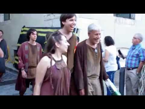 Eugene Simon Lancel Lannister, David Benioff and extras Got season 6 Girona shooting
