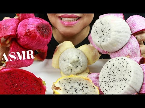 RED, WHITE & YELLOW DRAGON FRUITS ~ ASMR (No Talking) Eat Life With Kimchi