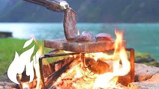Venison Steak grilled on saltplank over real fire ASMR style 🔥🔥🔥