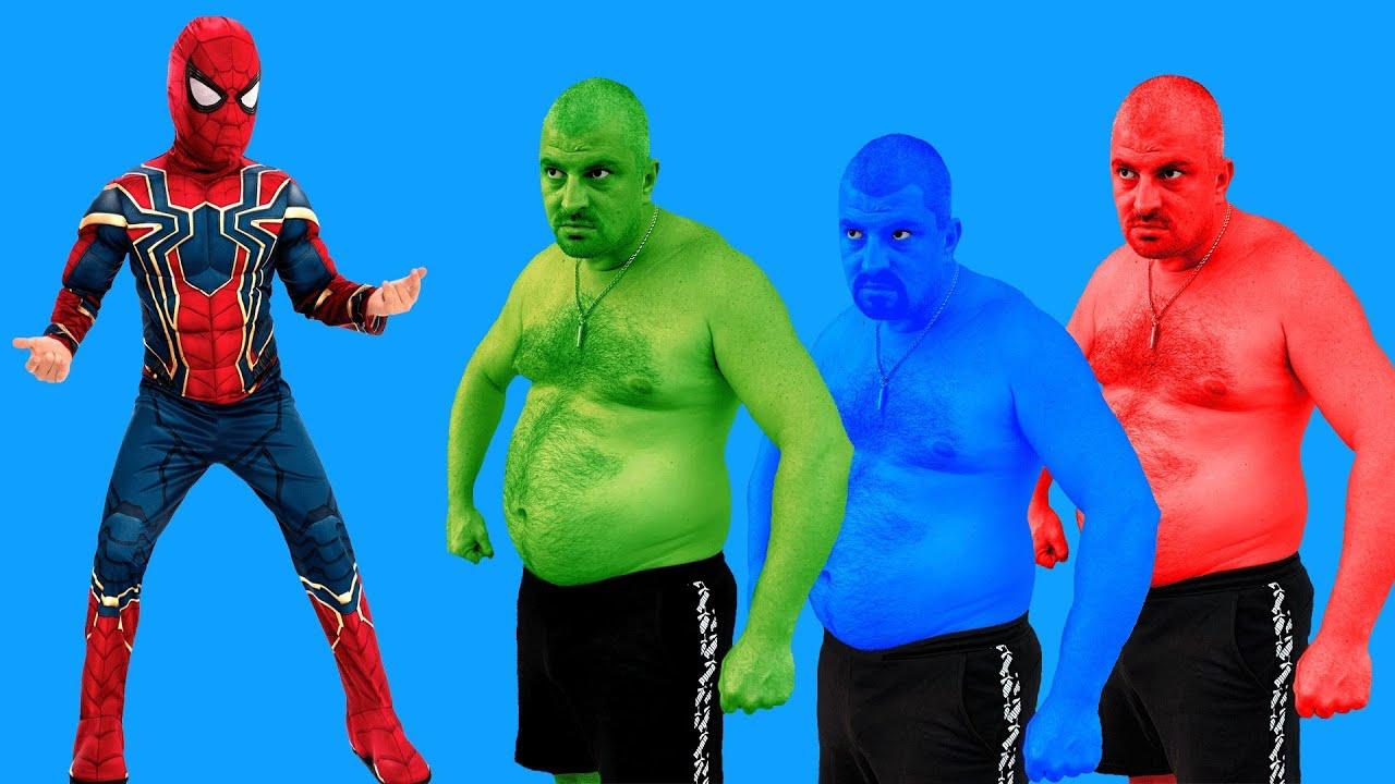 Spider-Man VS Green Hulk VS Blue Hulk VS Red Hulk - YouTube