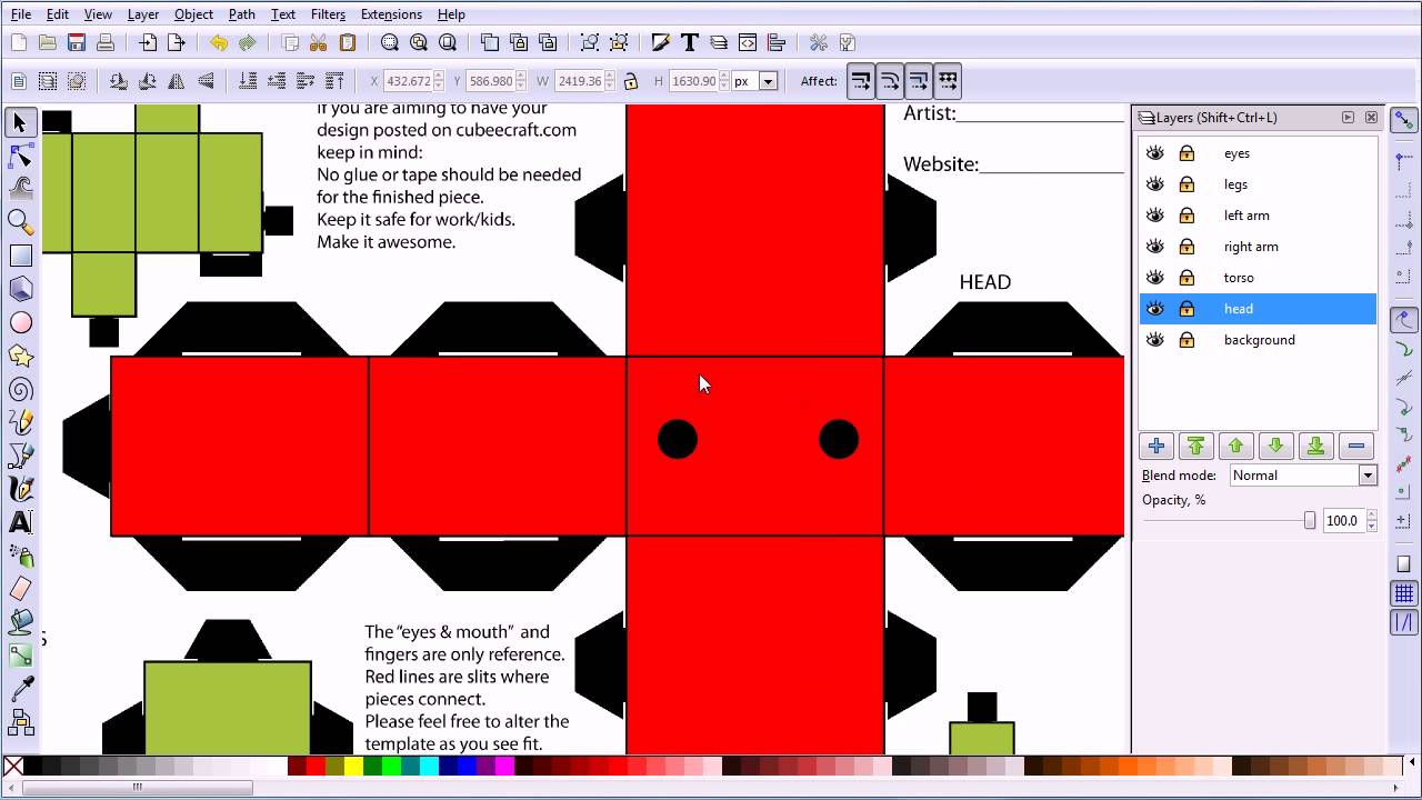 Blender Tutorial Using Inkscape To Modify A Cubeecraft Template And Link It To A 3d Model