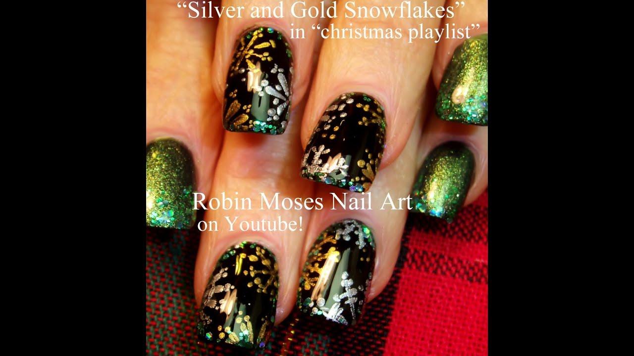 Easy Christmas Nails Silver Gold Snowflake Nail Art Tutorial