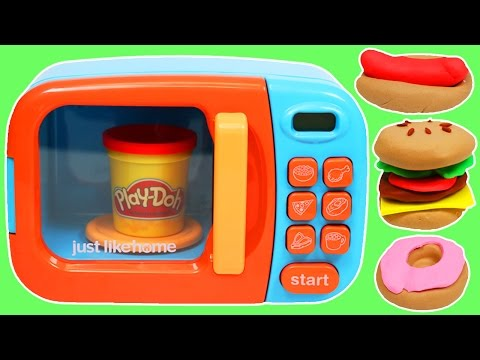 Thumbnail: Play Doh Food Cooking Microwave Oven Play Dough Hamburger Donut Hotdog Pizza & More!