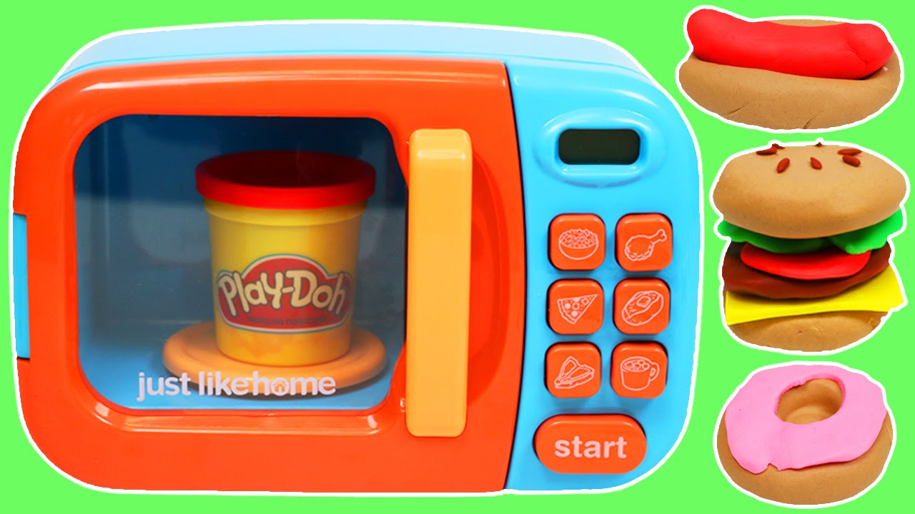 Make pretend play doh foods with microwave oven funnydog tv for Play doh cuisine