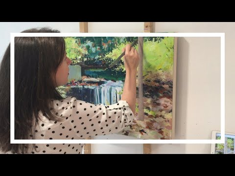 Acrylic Landscape Painting demo-Waterfall painting speed demonstration
