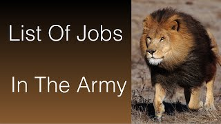 List Of Jobs In The Army