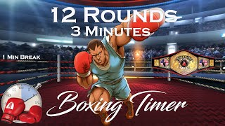 12 Round Boxing Workout Challenge  / Training Timer - 12 Rounds- 3 Minutes and 1 minute break
