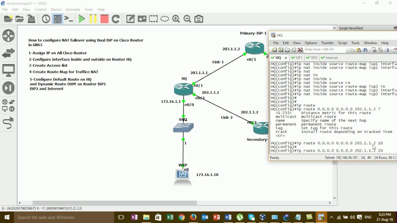 How to Configure NAT Failover Using Dual ISP on Cisco Router#02