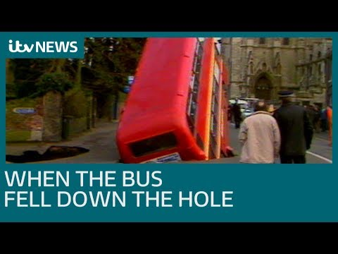 When a double-decker bus fell down a hole in Norwich | ITV News