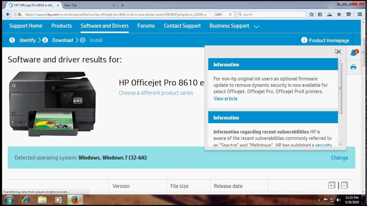 HP. Название модели: Officejet Pro 8610. Драйверы 7.