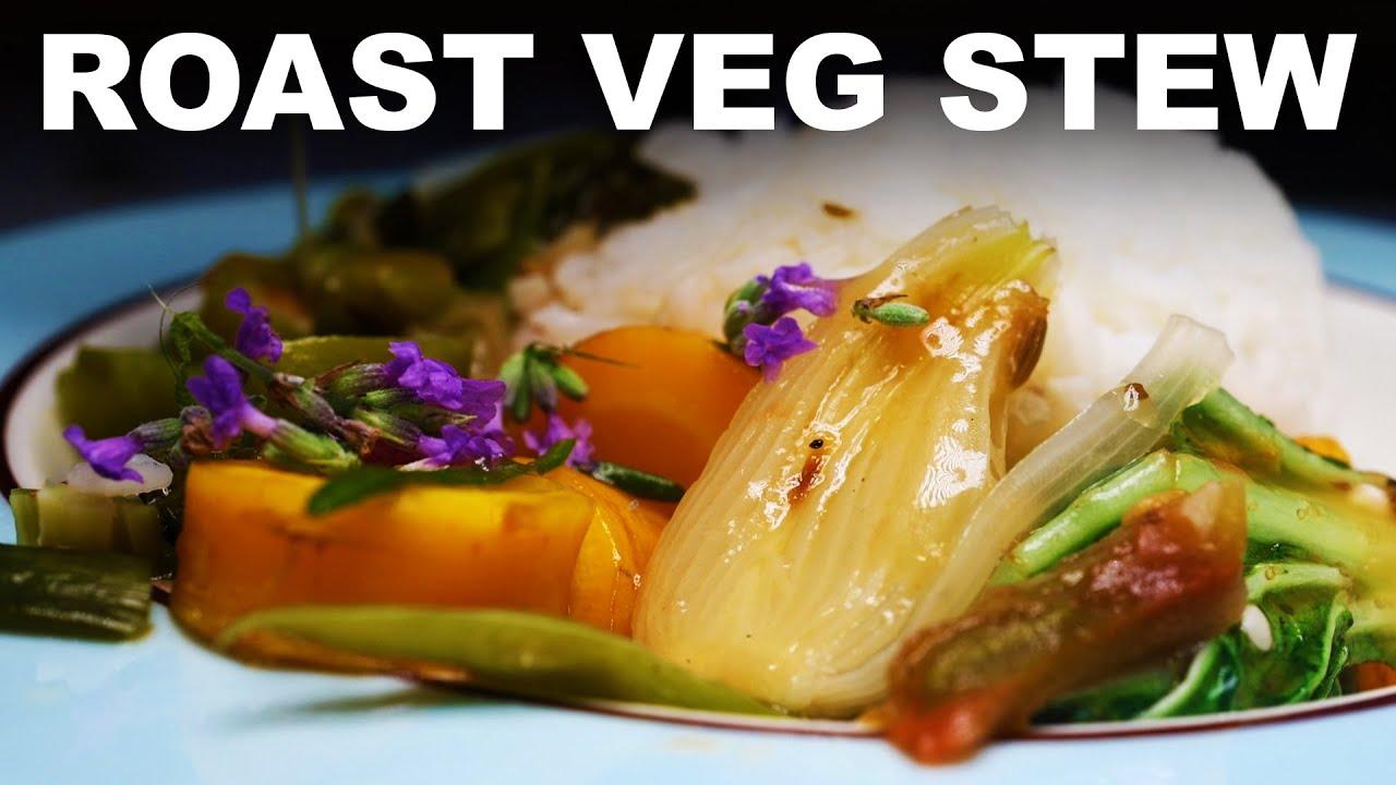 Summer vegetable stew | steamed rice | lavender flowers