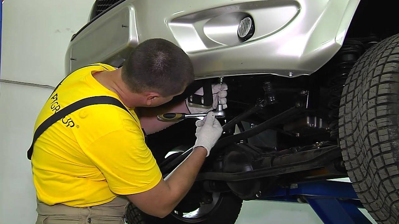 УАЗ ПАТРИОТ Монтаж защиты переднего бампера