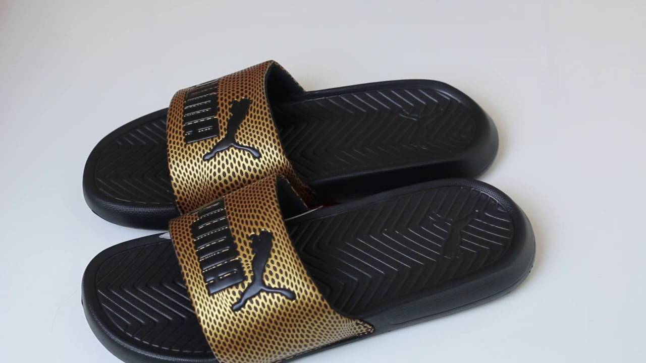 Puma Popcat Sliders Unboxing Gold and Black