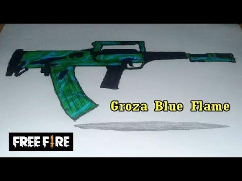 Cara Menggambar Tembak Groza Blue Flame Dari Free Fire Youtube