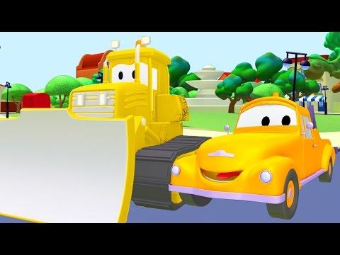 Tom la Grúa y el Bulldozer en Auto City   Autos y camiones dibujos animados para niños