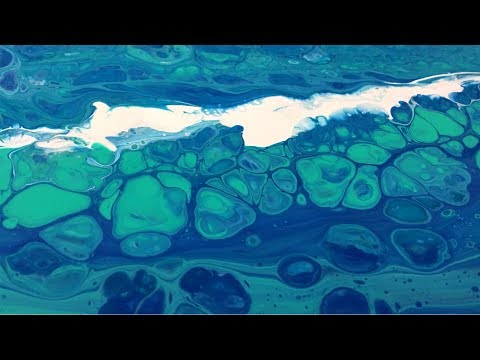 Fluid Art Pour Beginners Club, By Carl Mazur - Ocean Spray 12 x 24
