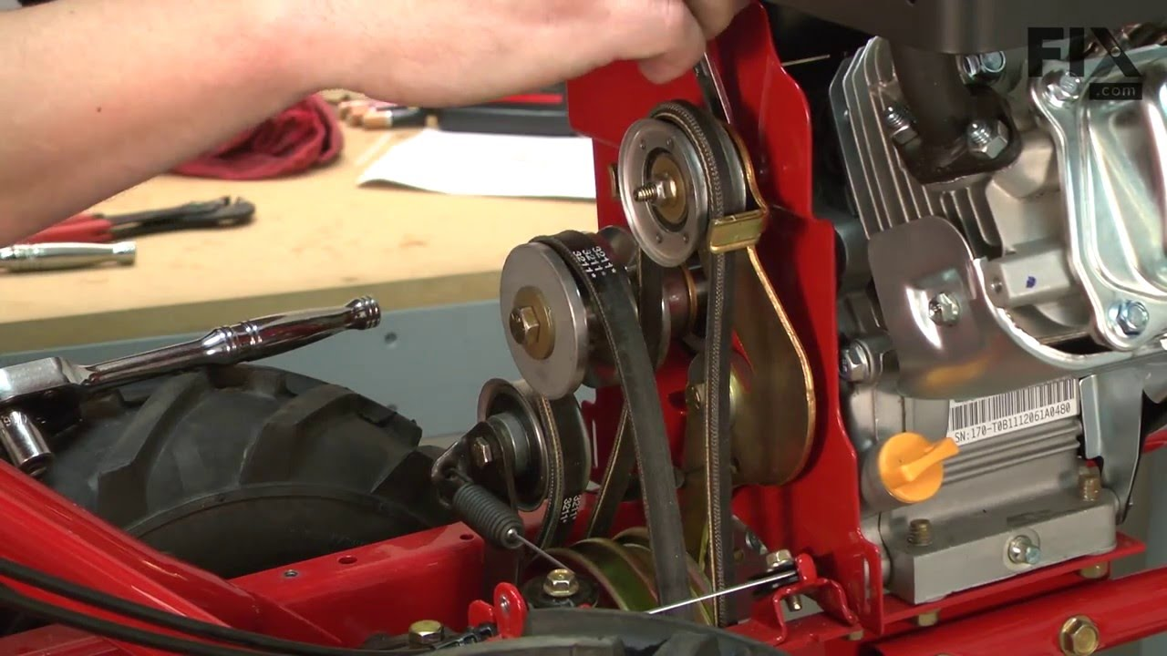 troy bilt super bronco tiller repair how to replace the idler pulley [ 1280 x 720 Pixel ]