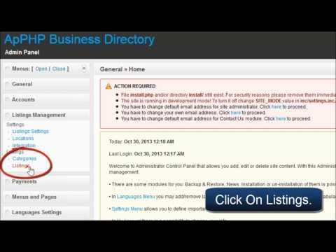 ApPHP Business Directory - Creating New Listing from Admin Panel