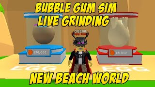 🏖 Grinding for a shiny Beach Hydra LIVE- ROBLOX Bubble Gum Simulator 🏖