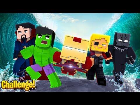 Minecraft - AVENGERS VS TSUNAMI CHALLENGE