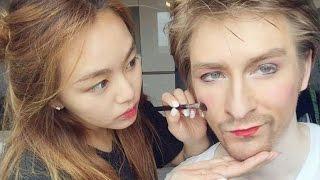 МЕСТЬ КЁНХИ! Кореянка делает русскому парню макияж. МАКИЯЖ ЧЕЛЛЕНДЖ-(Кyungha/Кёнха)