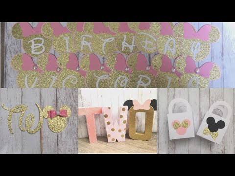 DIY Minnie Mouse Inspired Party Decor | Pink & Gold Glitter