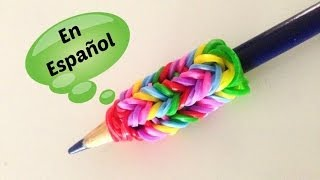 Repeat youtube video Rainbow Loom en ESPAñOL - Adaptador para Lapiz de Gomita DIY FÁCIL- Pencil Grip