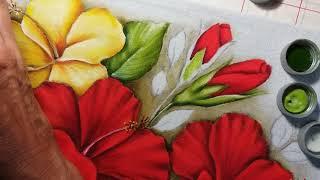 Hibiscos – Botões – Parte 4 – Pintura em tecido