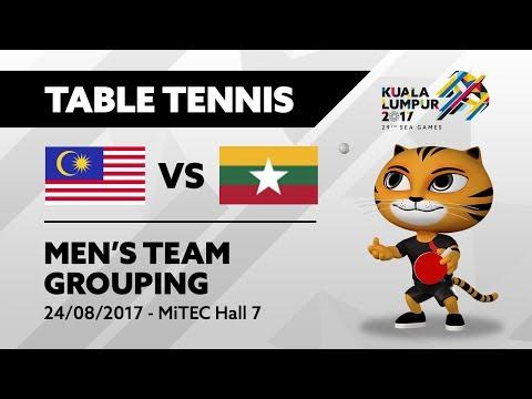 KL2017 29th SEA Games | Table Tennis - Men's Team Grouping - MAS 🇲🇾 vs MYA 🇲🇲 | 24/08/2017