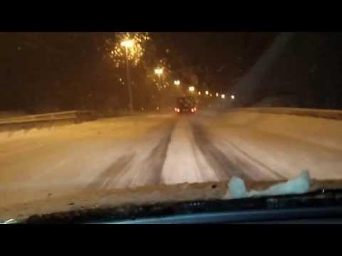 Worlds northernmost motorway during a Blizzard