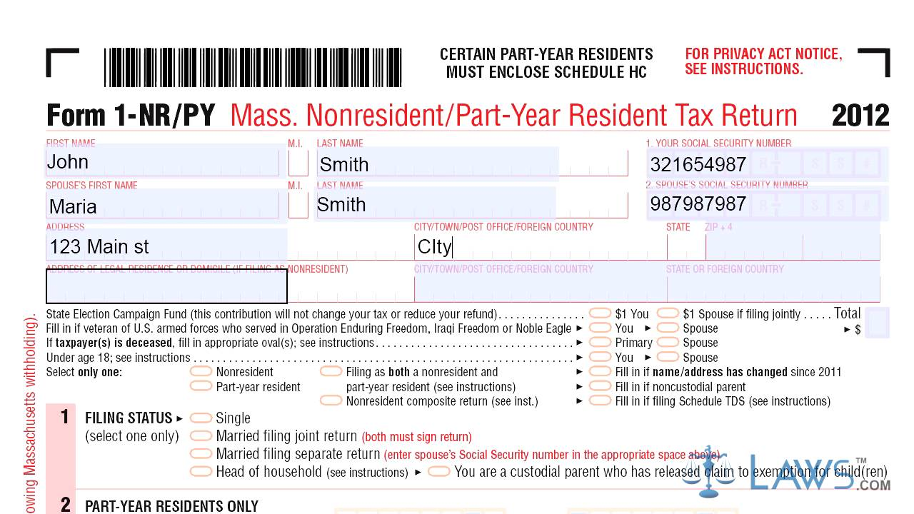 Form 1 NRPY Mass Nonresident Part Year Resident Tax Return