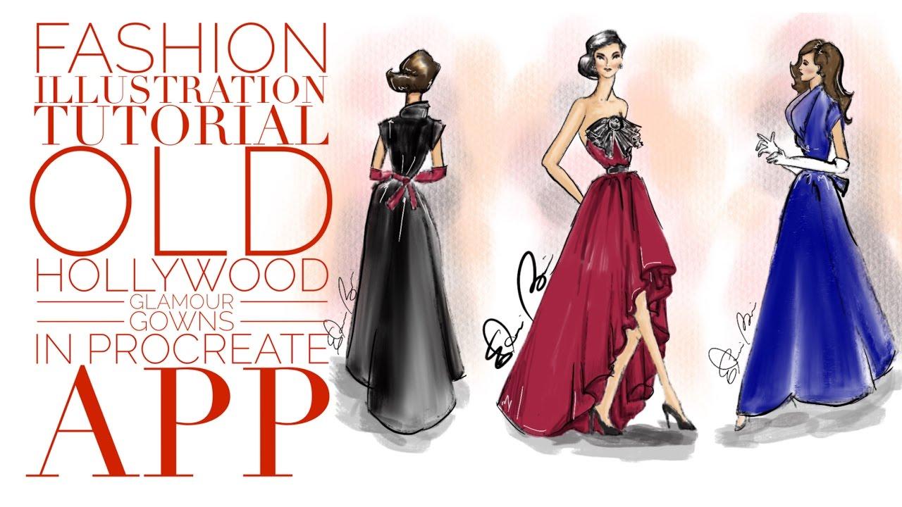 Fashion Illustration Tutorial Old Hollywood Glamour Gowns Digital ...