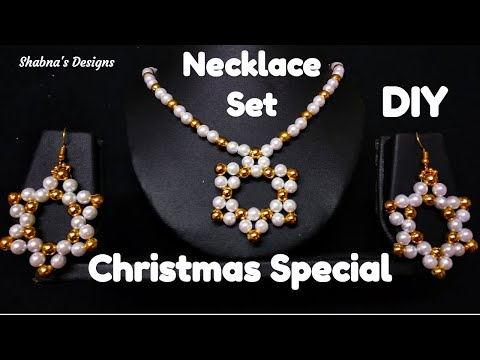 Pearl Necklace//How To Make//At Home//Pearl Necklace Tutorial// Christmas Special// Shabna's Designs