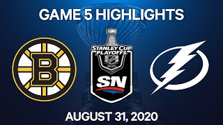 NHL Highlights | 2nd Round, Game 5: Bruins vs. Lightning – Aug. 31, 2020