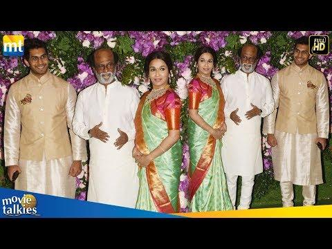 Rajinikanth With Daughter Soundarya At Akash Ambani & Shloka Mehta Wedding 2019