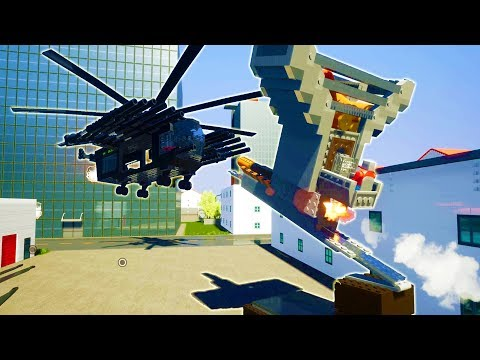 THE LARGEST EXPLOSIVE LAUNCHER EVER MADE VS HUGE HELICOPTER - Brick Rigs Workshop Creations Gameplay
