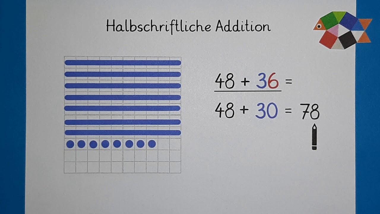 Halbschriftliche Addition Teil 200 / Mathe Klasse 200 / Plusaufgaben rechnen
