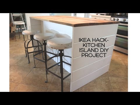 IKEA HACK-DIY IKEA Kitchen Island/Shiplap Sides/Thrifted Wood Countertop