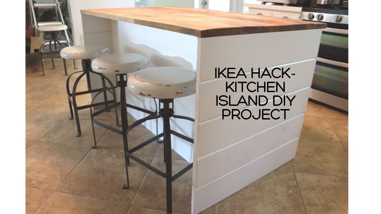 Ikea Hack Diy Ikea Kitchen Island Shiplap Sides Thrifted Wood Countertop Youtube