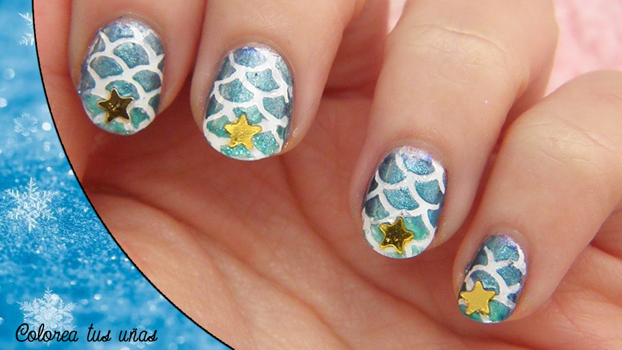 Mermaids nails art || DIY: Diseño de uñas de sirena - YouTube