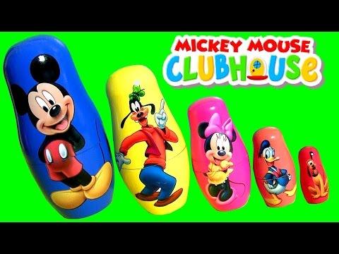 Mickey Mouse Stacking Cups com Pateta Minnie Pato Donald Pluto Copinhos de Empilhar em Portugues BR