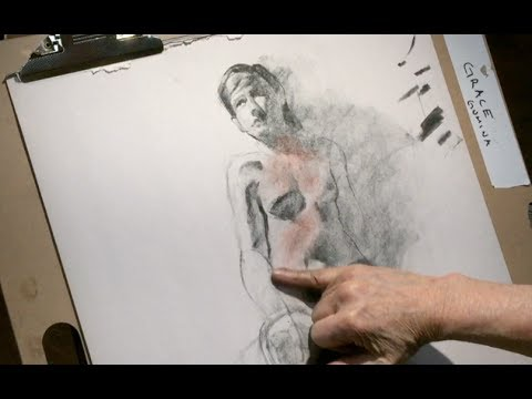 Charcoal Drawing and Conte Pro Demo -Two Poses-Exploring Abstraction and Design by Steve Carpenter
