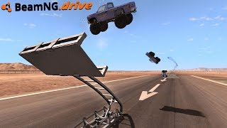 BeamNG.drive - CATAPULT LAUNCHING CARS