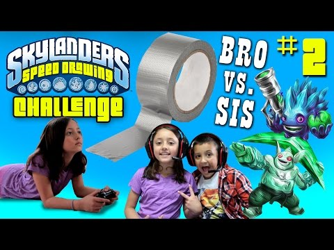 Skylanders Speed Drawing Challenge Part 2: RETURN OF DUCT TAPE! Brother vs. Sister Draw Battle!