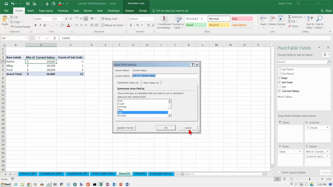 excel 2016 pivot table functions grouping on a numeric field youtube