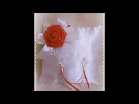 Cuscino Portafedi Bianco E Blu.Cuscini Portafedi Raso Bianco Rosa Rossa E Blu In Raso
