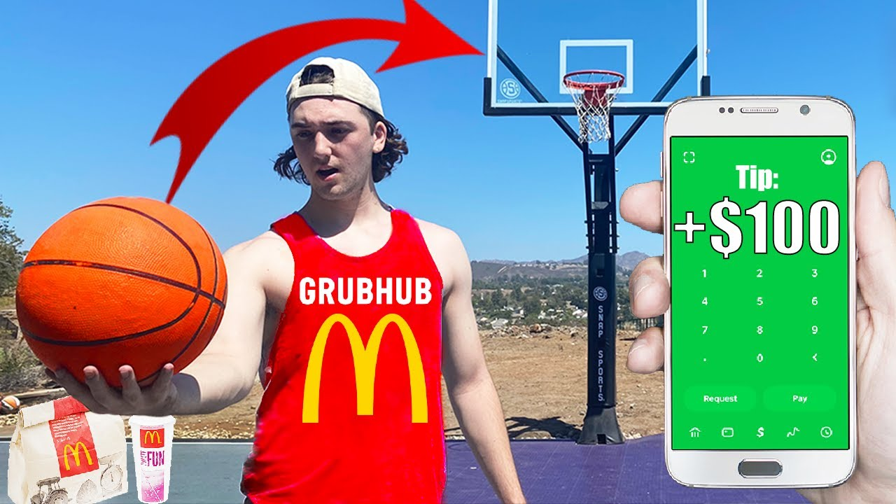 TIPPING DELIVERY DRIVERS $100 IF THEY MAKE TRICK SHOT!